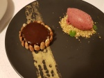 Glazed Chocolate Mousse and Cherry Sorbet with Almond and Pistachio Crumb