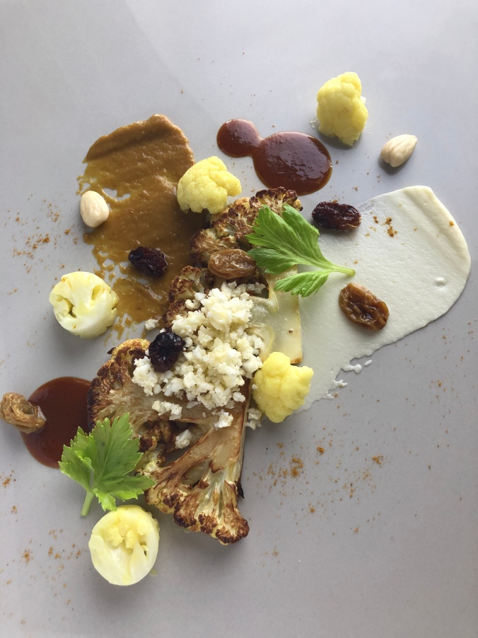 Cauliflower with Grapes, Almonds and Curry