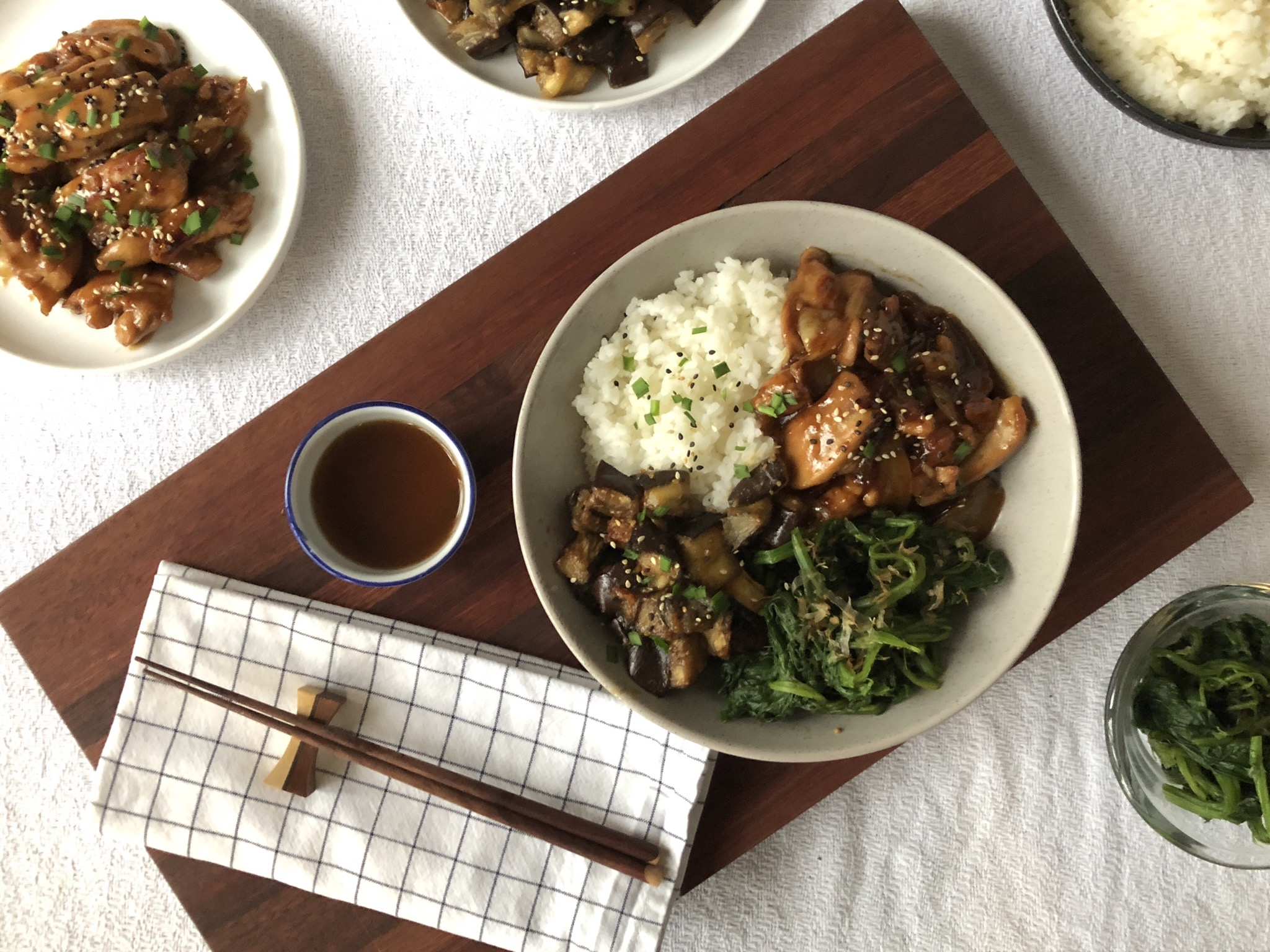 chicken teriyaki, miso roasted eggplant, spinach and rice