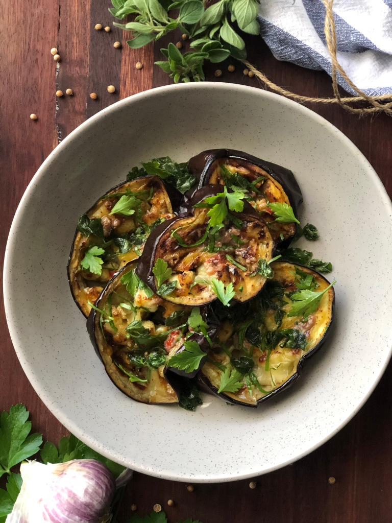 Roasted eggplant with anchovy dressing and crispy oregano